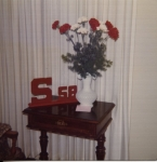 Center Pieces for tables, made out of wood block 'S' & '58' in blue ones and red ones.