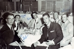 Senior Dinner at the Hotel Claremont in Berkeley--1958 class: Bob Jasper, Jack McCarty, Bob Philpott,Paul Robles, Bill V
